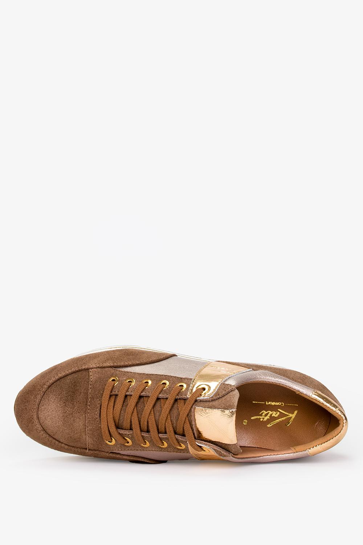 Brązowe sneakersy Kati buty sportowe sznurowane polska skóra 7099 wysokosc_platformy 3 cm