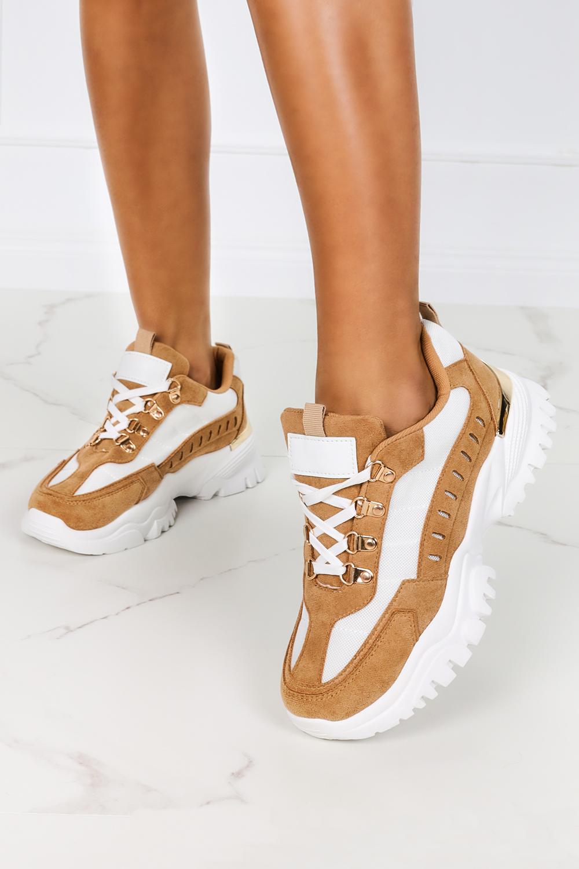 Brązowe sneakersy na platformie buty sportowe sznurowane Casu 5311 brązowy