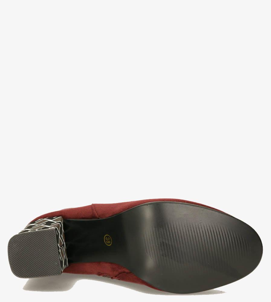 Burgundowe botki Casu na szerokim ozdobnym słupku G19X25/BU obwod_w_kostce 26 cm