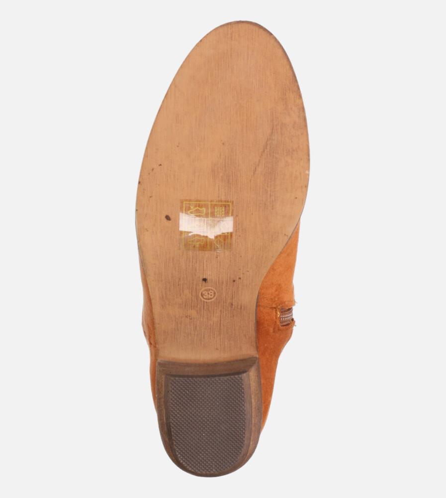 Camelowe botki kowbojki ażurowe na niskim obcasie Casu D20X26/C kolor camel