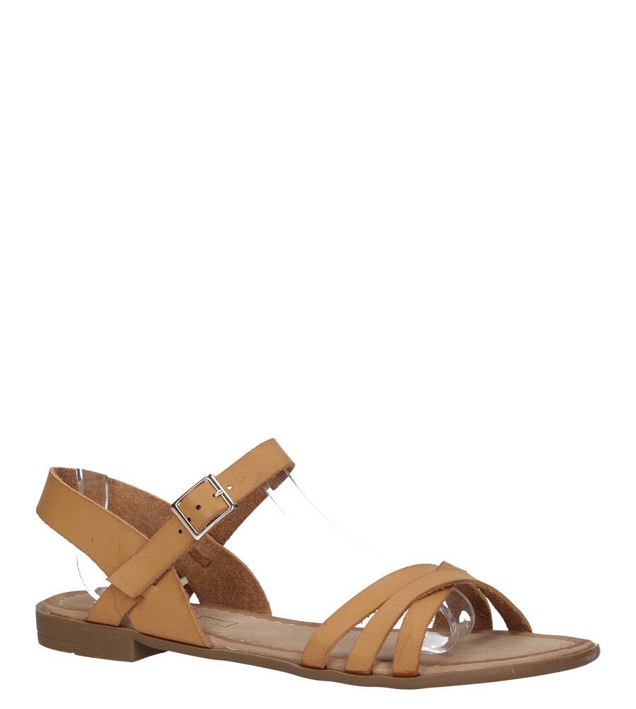 Camelowe lekkie sandały płaskie z paskami na krzyż Casu K19X2/C