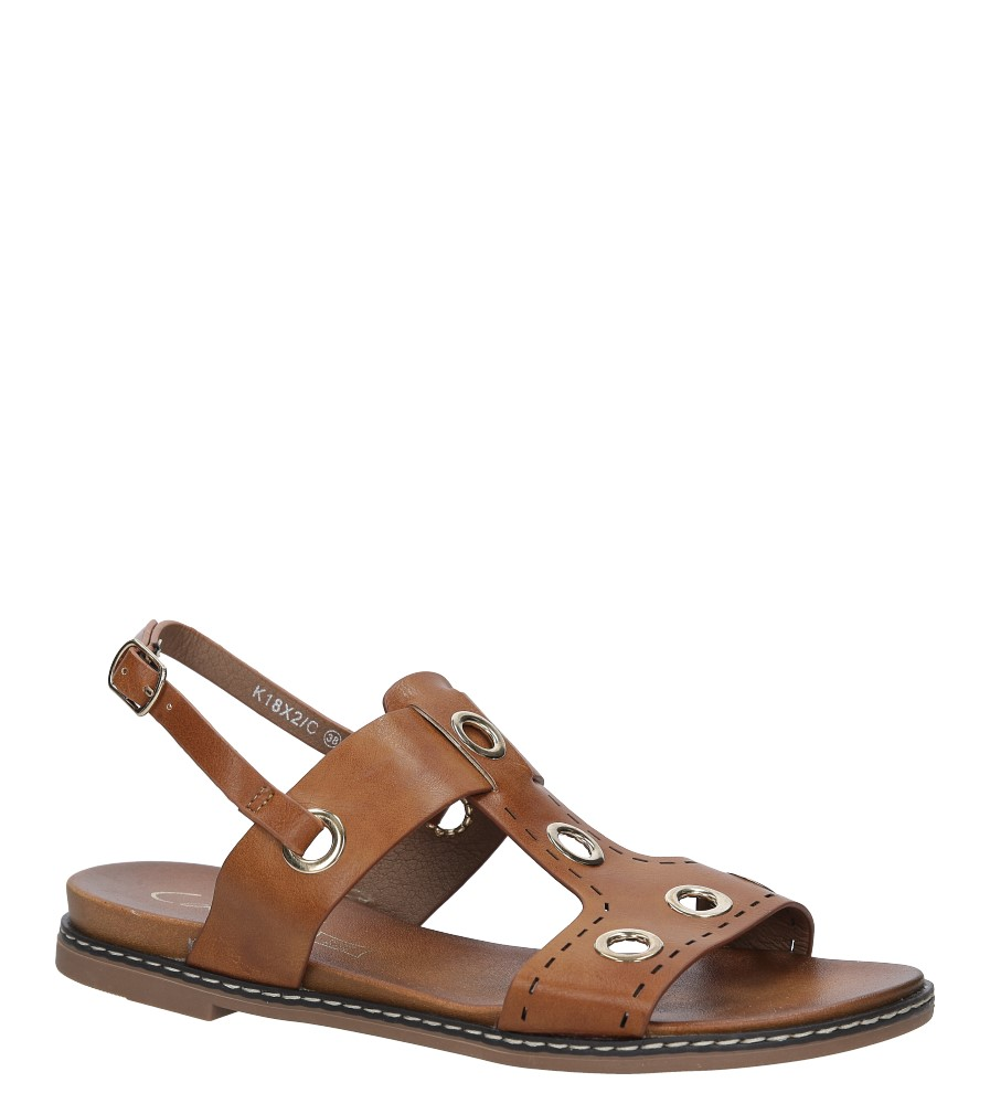 Camelowe modne sandały z ozdobnymi metalowymi kółkami  Casu K18X2/C