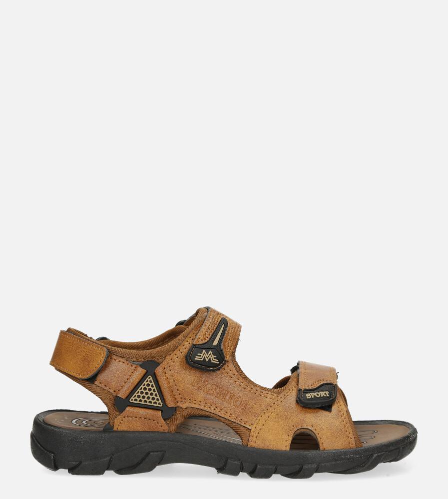 Camelowe sandały na rzepy Casu 3127 camel