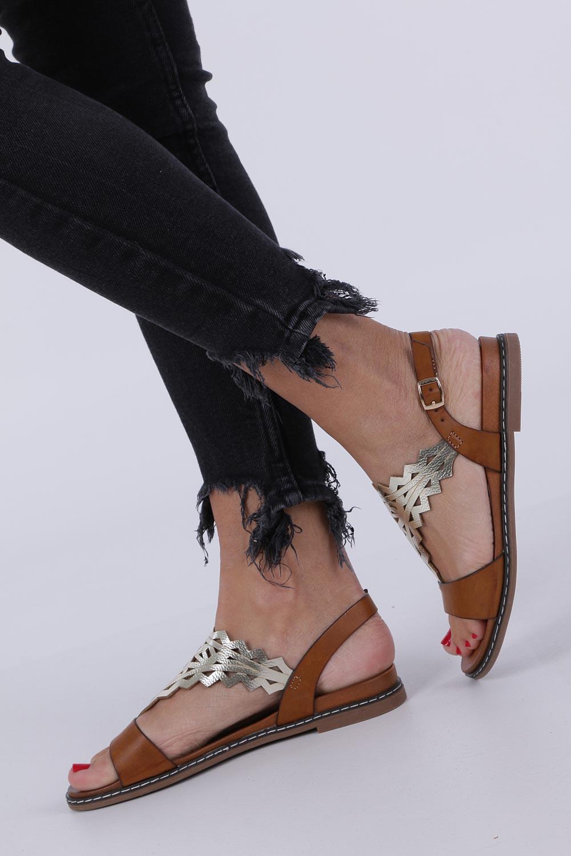 Camelowe sandały płaskie ażurowe Sergio Leone SK011