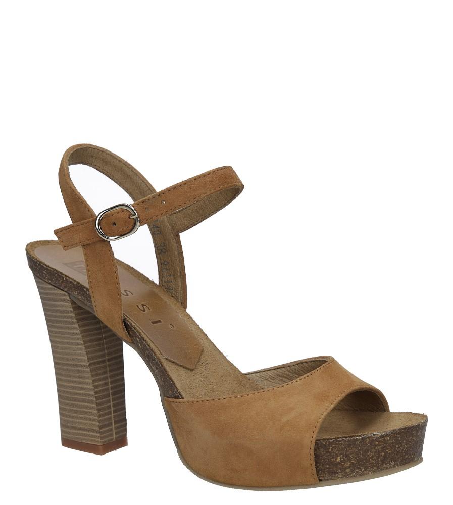 Camelowe sandały skórzane na słupku Nessi 18340