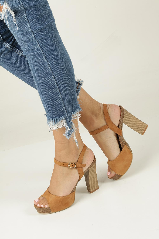 Camelowe sandały skórzane na słupku Nessi 18340 model 18340
