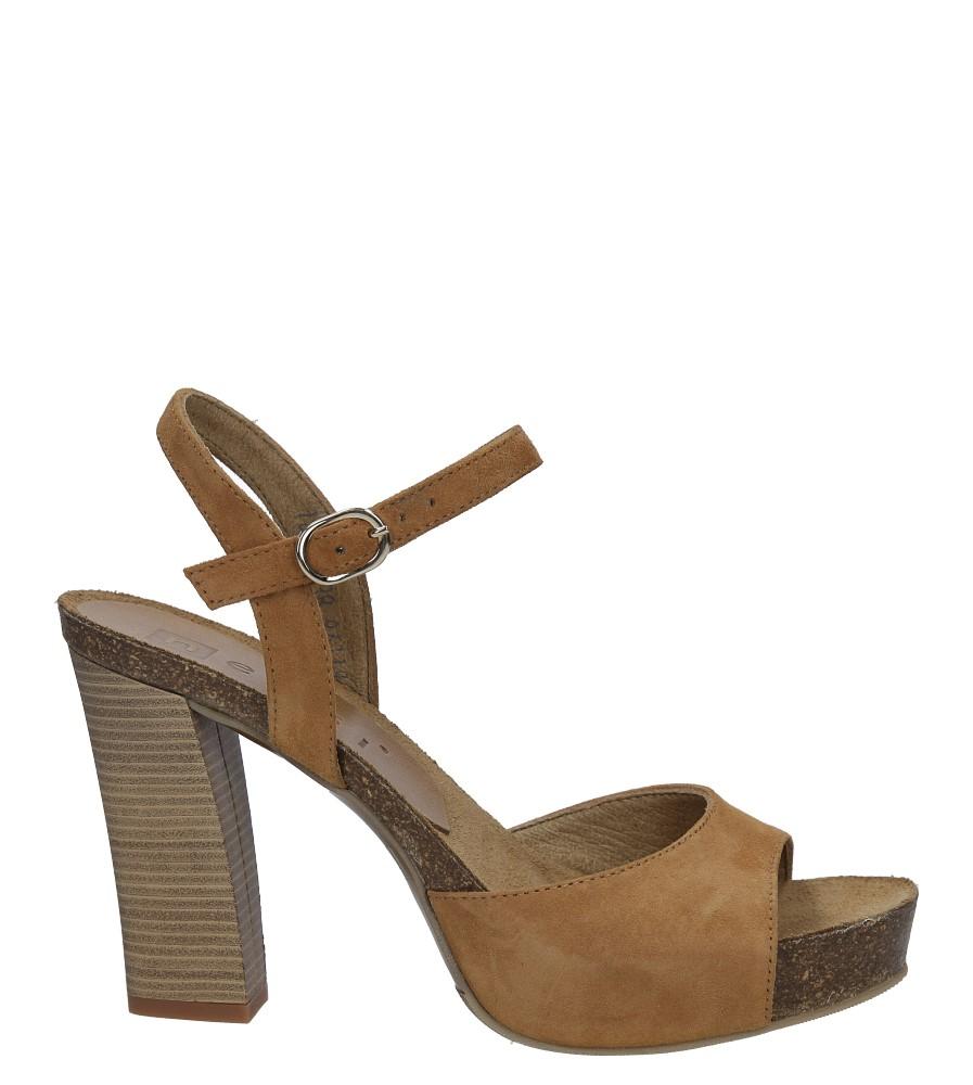 Camelowe sandały skórzane na słupku Nessi 18340 sezon Lato