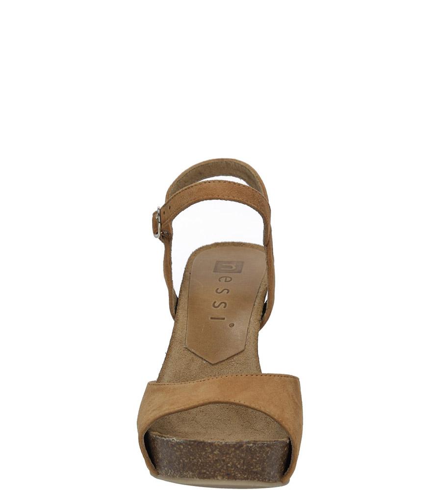 Camelowe sandały skórzane na słupku Nessi 18340 kolor camel