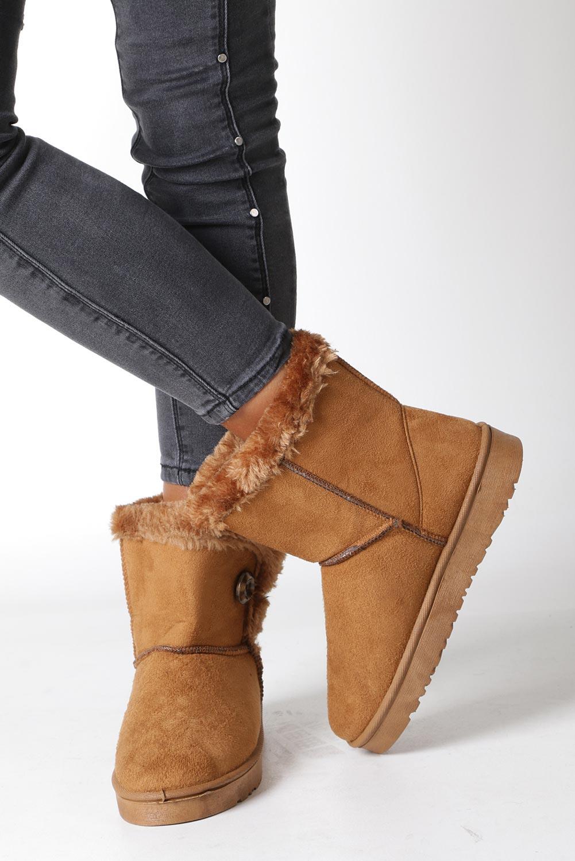Camelowe śniegowce z futerkiem emu Casu 703 wys_calkowita_buta 18.5 cm