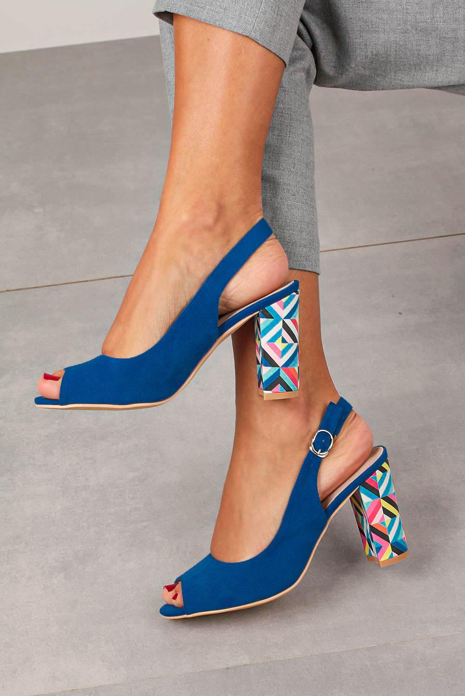 Chabrowe sandały Casu na ozdobnym słupku ze skórzaną wkładką N20X4/BL kolor niebieski