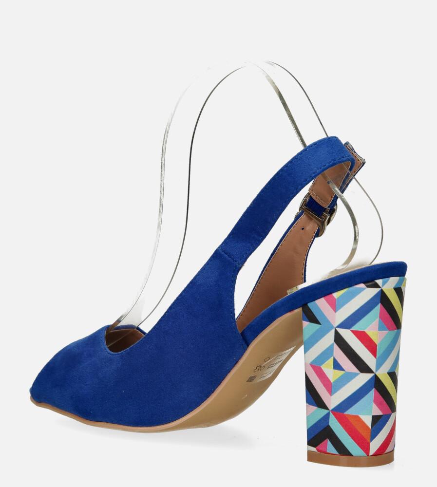 Chabrowe sandały Casu na ozdobnym słupku ze skórzaną wkładką N20X4/BL wys_calkowita_buta 15 cm