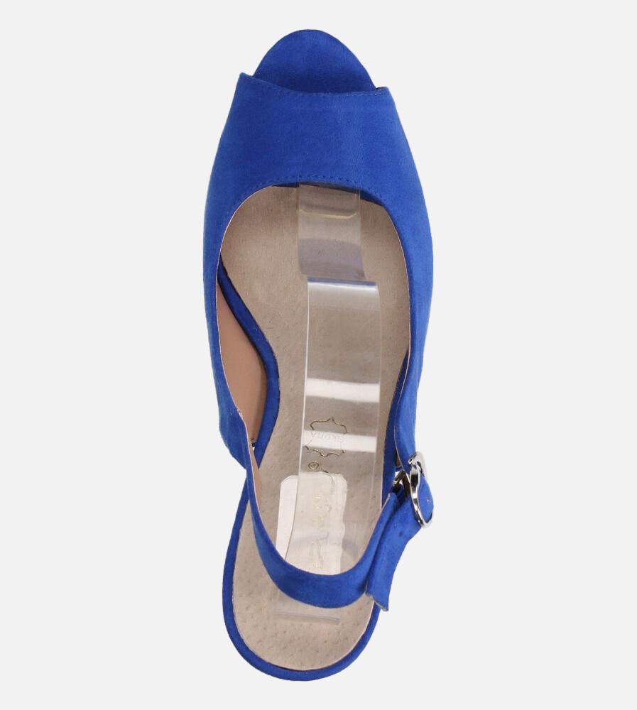 Chabrowe sandały Casu na ozdobnym słupku ze skórzaną wkładką N20X4/BL wierzch zamsz ekologiczny
