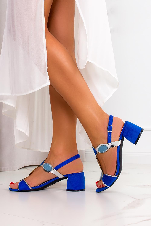 Chabrowe sandały Casu na szerokim słupku ze skórzaną wkładką ER21X11/B kolor jasny niebieski, niebieski