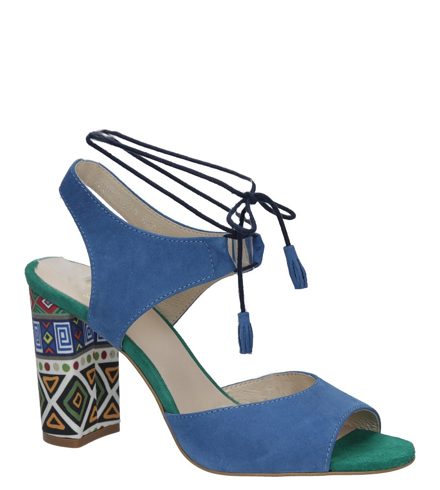 Chabrowe sandały skórzane na ozdobnym obcasie Kordel 1671 niebieski