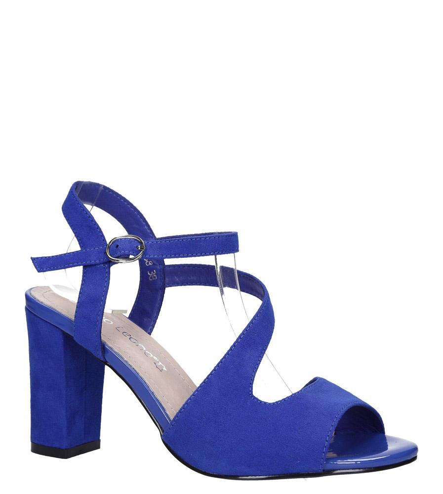 Chabrowe sandały z paskiem przez środek na szerokim słupku Sergio Leone SK868 niebieski
