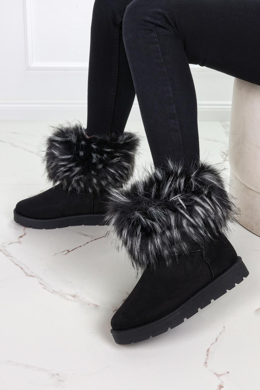 Czare śniegowce mukluki z futerkiem emu Casu W897 czarny