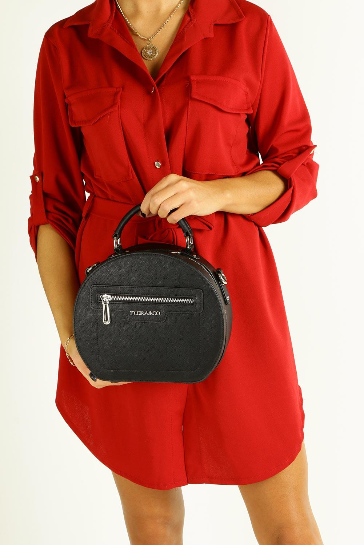 Czarna torebk mała z rączką Casu F6335