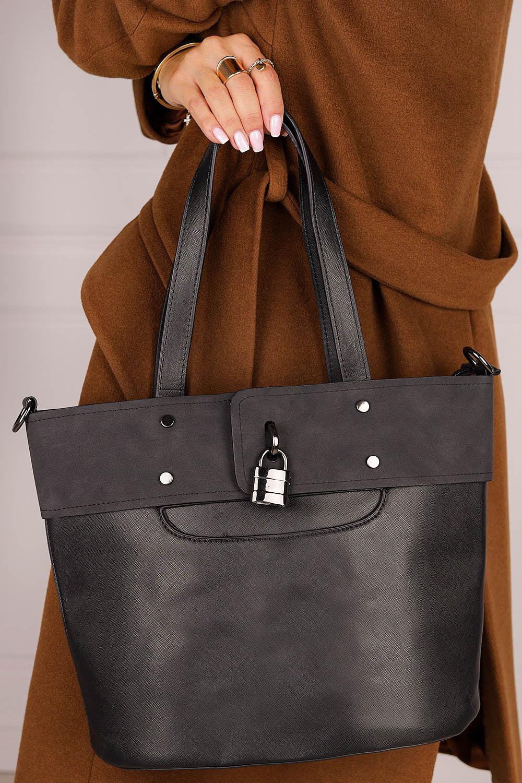 Czarna torebka Casu z ozdobnymi suwakami AK-3/511992