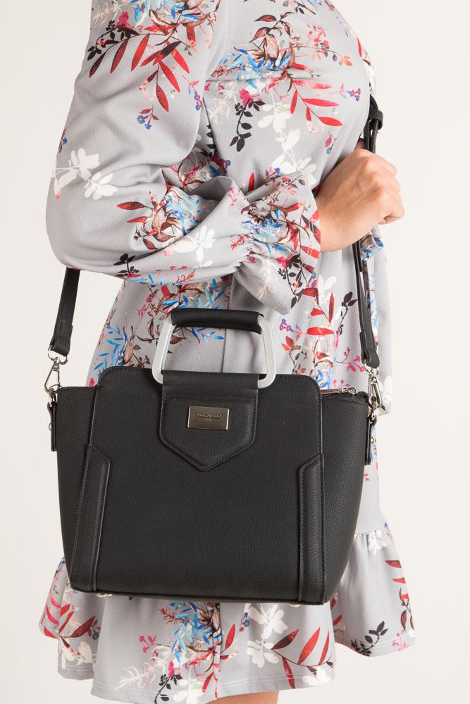 Czarna torebka do ręki Casu S6397