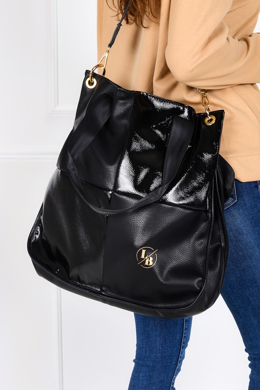 Czarna torebka duża z długimi rączkami Laura Biaggi DG01