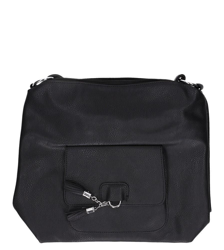 Czarna torebka listonoszka z kieszonką z przodu i frędzlami Casu AD-54