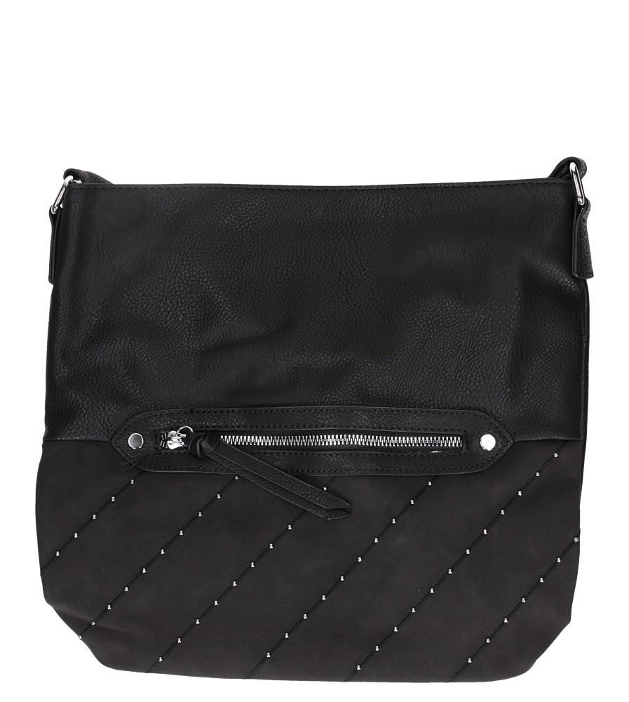 Czarna torebka listonoszka z kieszonką z przodu i ozdobnymi suwakami Casu AD-52