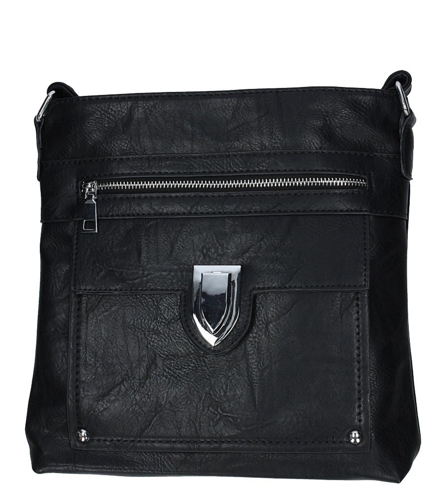 Czarna torebka listonoszka z metalową ozdobą Casu D99