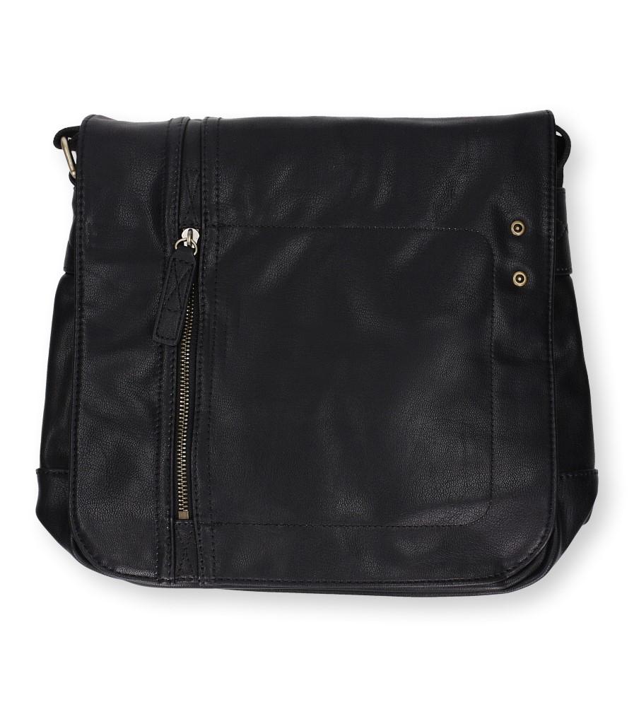 Czarna torebka listonoszka z ozdobnym suwakiem Casu 217-MH