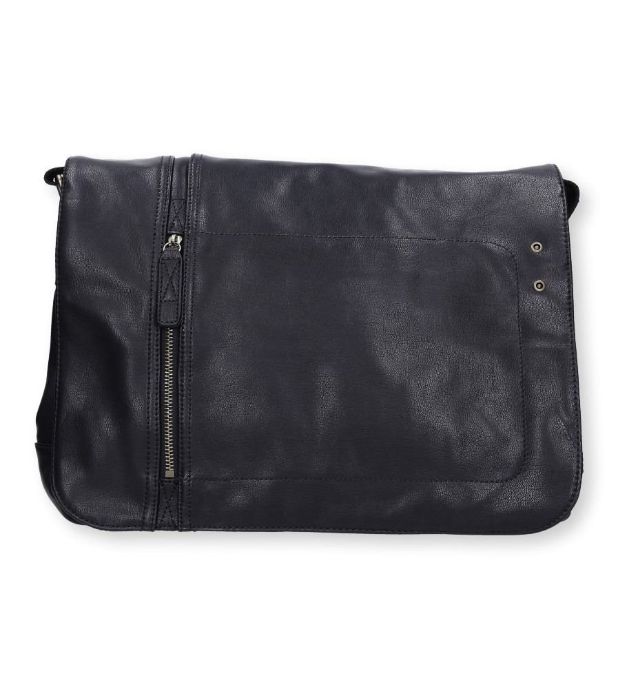 Czarna torebka listonoszka z ozdobnym suwakiem Casu 661-MH