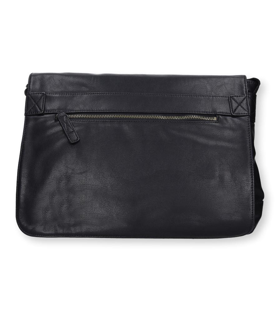 Czarna torebka listonoszka z ozdobnym suwakiem Casu 662-MH