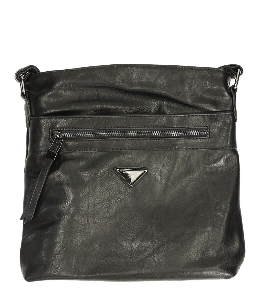 Czarna torebka listonoszka z ozdobnym suwakiem Casu D90