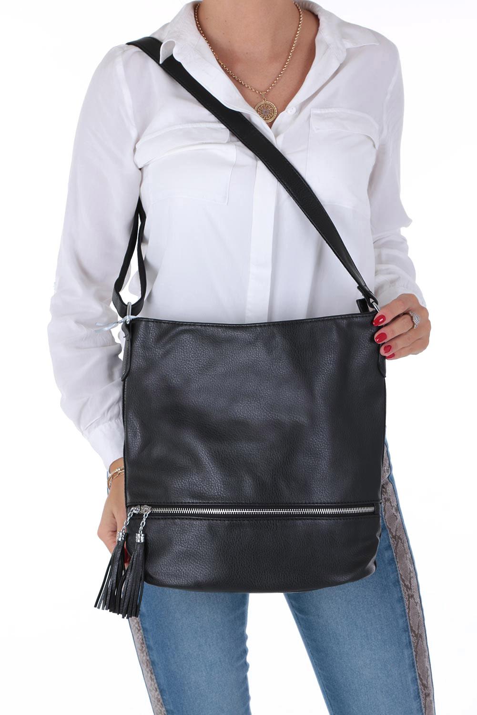 Czarna torebka listonoszka z ozdobnymi suwakami Casu 3633-BB