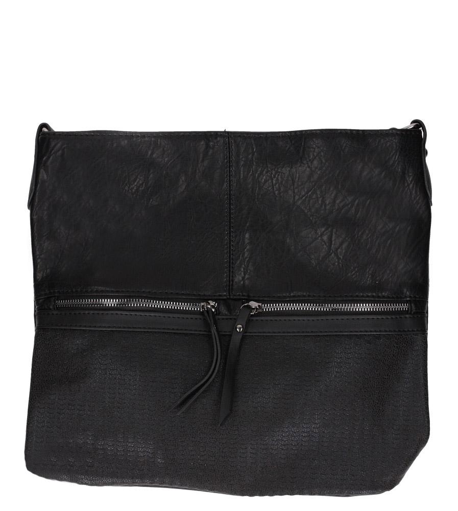 Czarna torebka listonoszka z ozdobnymi suwakami Casu 3940-BB