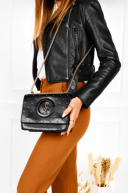 Czarna torebka mała na łańcuszku z nitami Femestage BAG0600-020
