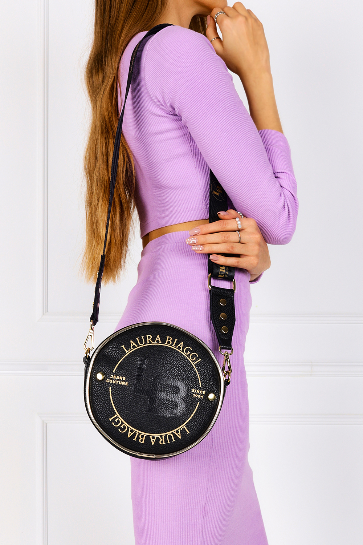 Czarna torebka mała okrągła Laura Biaggi JS143