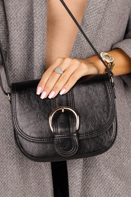 Czarna torebka mała z klamrą Casu AK-56980820