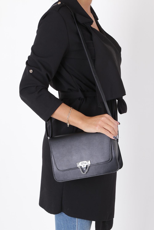 Czarna torebka mała z łańcuszkiem Casu 4050-BB