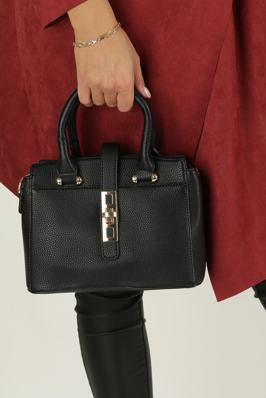 Czarna torebka mała z rączkami Casu L5018