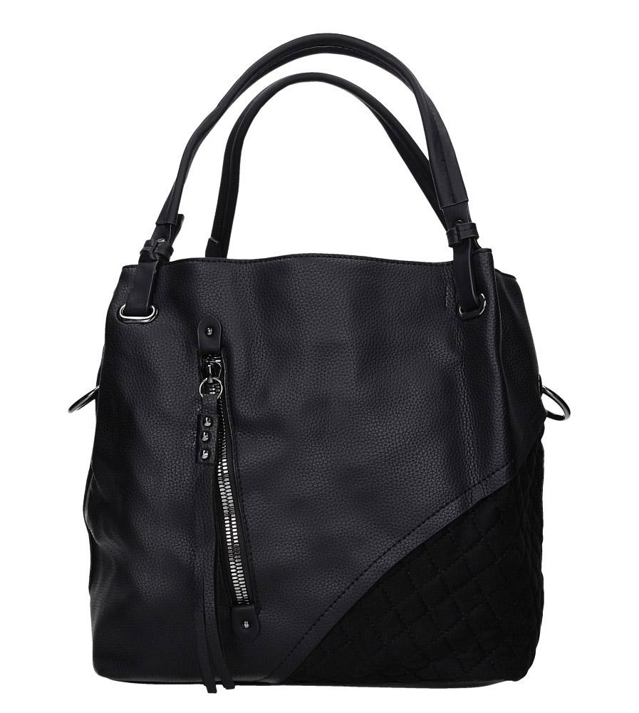 Czarna torebka pikowana z ozdobnym suwakiem Casu 2683