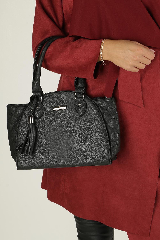 Czarna torebka pikowana z rączkami Casu L2069