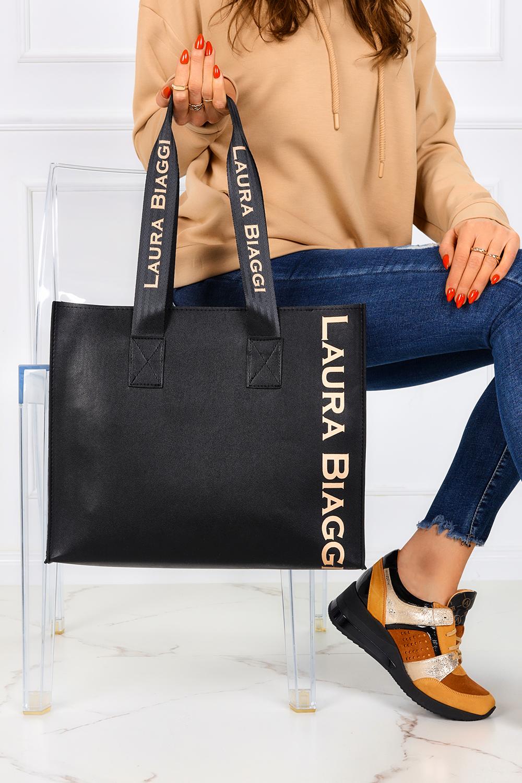 Czarna torebka shopperka z długimi rączkami 2w1 Laura Biaggi MG260 czarny