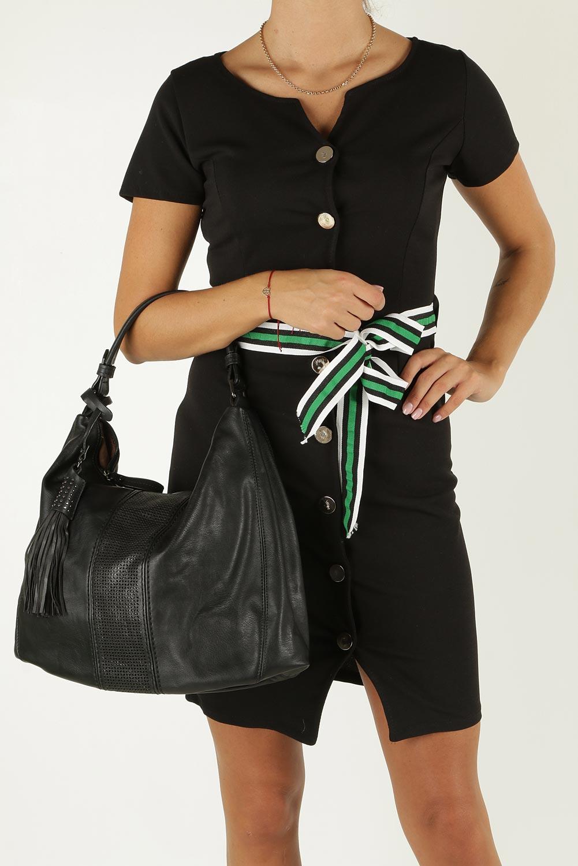Czarna torebka z ażurowym wykończeniem Casu2064