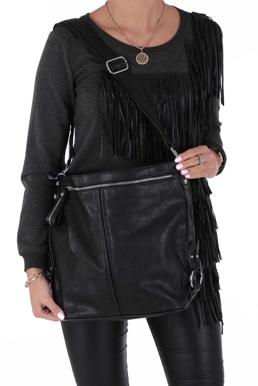Czarna torebka z kieszonką z przodu Casu 74-MH
