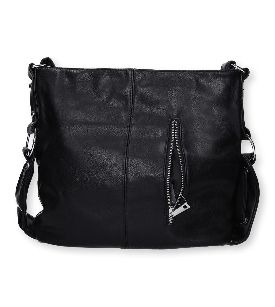 Czarna torebka z ozdobnym suwakiem Casu 67-MH