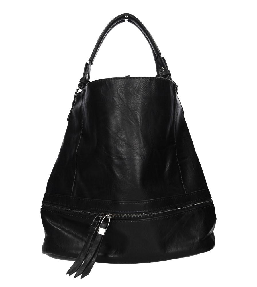 Czarna torebka z ozdobnym suwakiem Casu D66