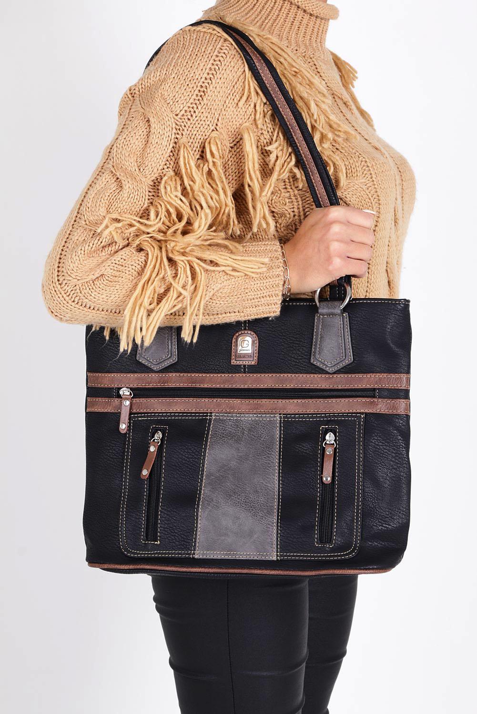 Czarna torebka z ozdobnymi suwakami Casu 1635E