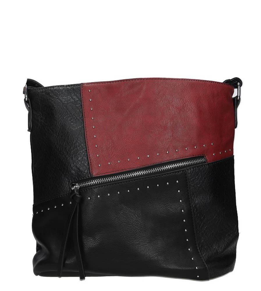 Czarna torebka z ozdobnymi suwakami i nitami Casu 8738