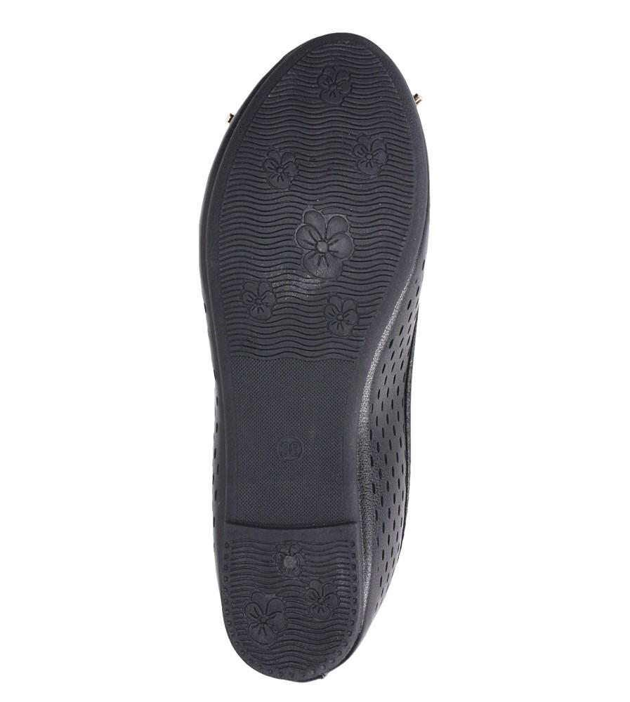 Czarne baleriny ażurowe z kokardką Casu DA19X13/B wierzch skóra ekologiczna