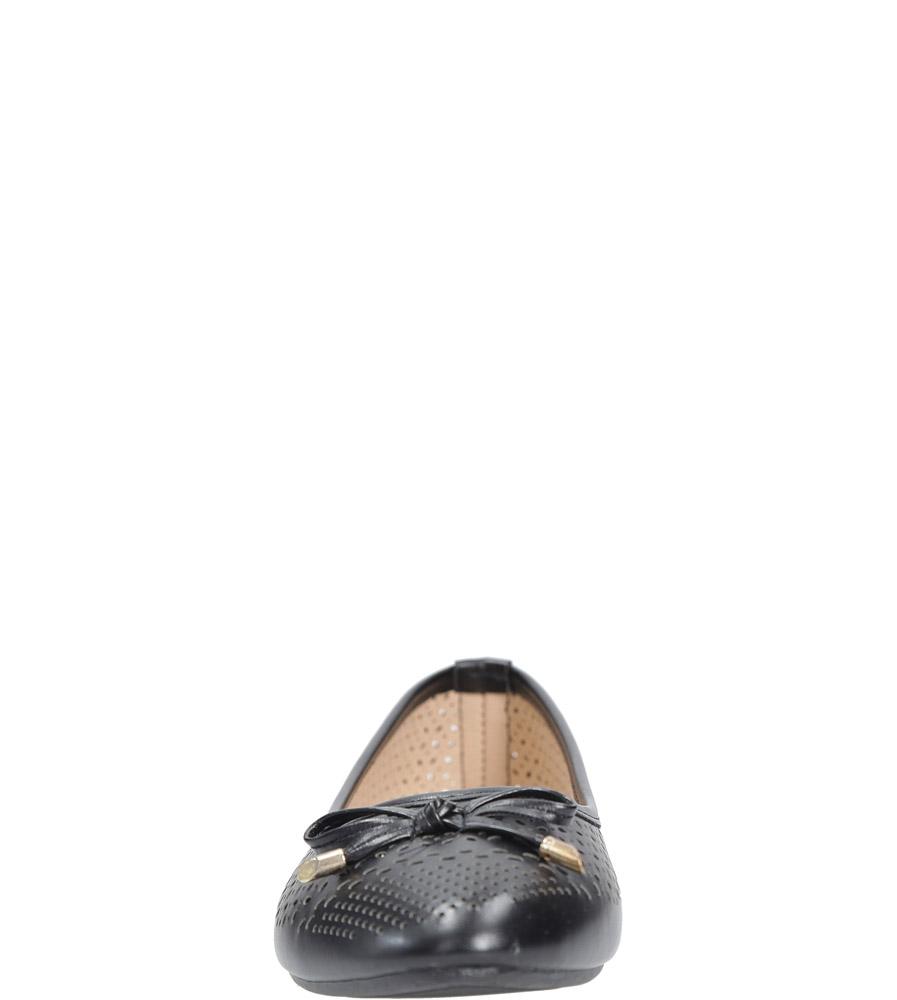 Czarne baleriny ażurowe z kokardkę Casu SJ1768-1 style Ażurowy