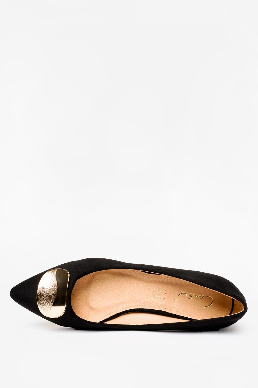 Czarne baleriny Casu z metalową ozdobą skórzana wkładka D21X10/B wys_calkowita_buta 7.5 cm